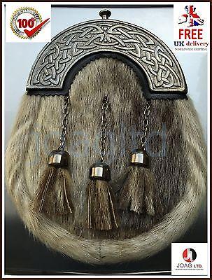 Scottish Kilt Sporran Formal Seal Skin Kilt Sporran Full Dress Sporrans & Chain