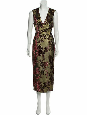 F.R.S. FOR RESTLESS SLEEPERS Gold Meti Floral Brocade Lurex Devoré Wrap Dress L