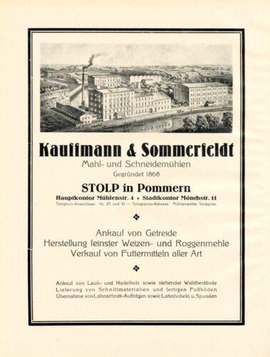 Mills Kauffmann & Sommerfeldt Slupsk XL 1924 ad Stolp advertising Pomerania  +