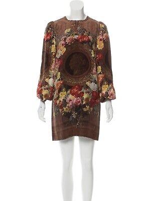 Dolce Gabbana Runway silk roman coin print dress IT 46