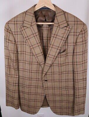 Pal Zileri RECENT Men's Sport Coat Jacket 40C 40S 40 Beige Plaid Wool Silk Linen