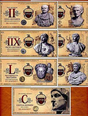Roman Empire, SET 1,2,4,8,20,50,100 Sesterces, UNC