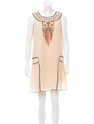 ANTHROPOLOGIE - ANNA SUI Drop Waist Pochahontas Silk dress 12 L $578 NEW  - Pochahontas Dress