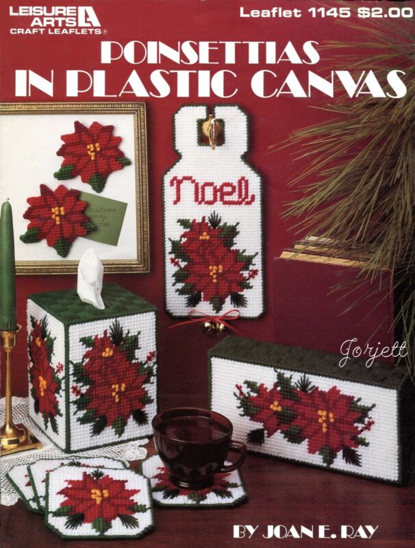 Poinsettias, Christmas Coaster Tissue Magnets & More plastic canvas pattern book