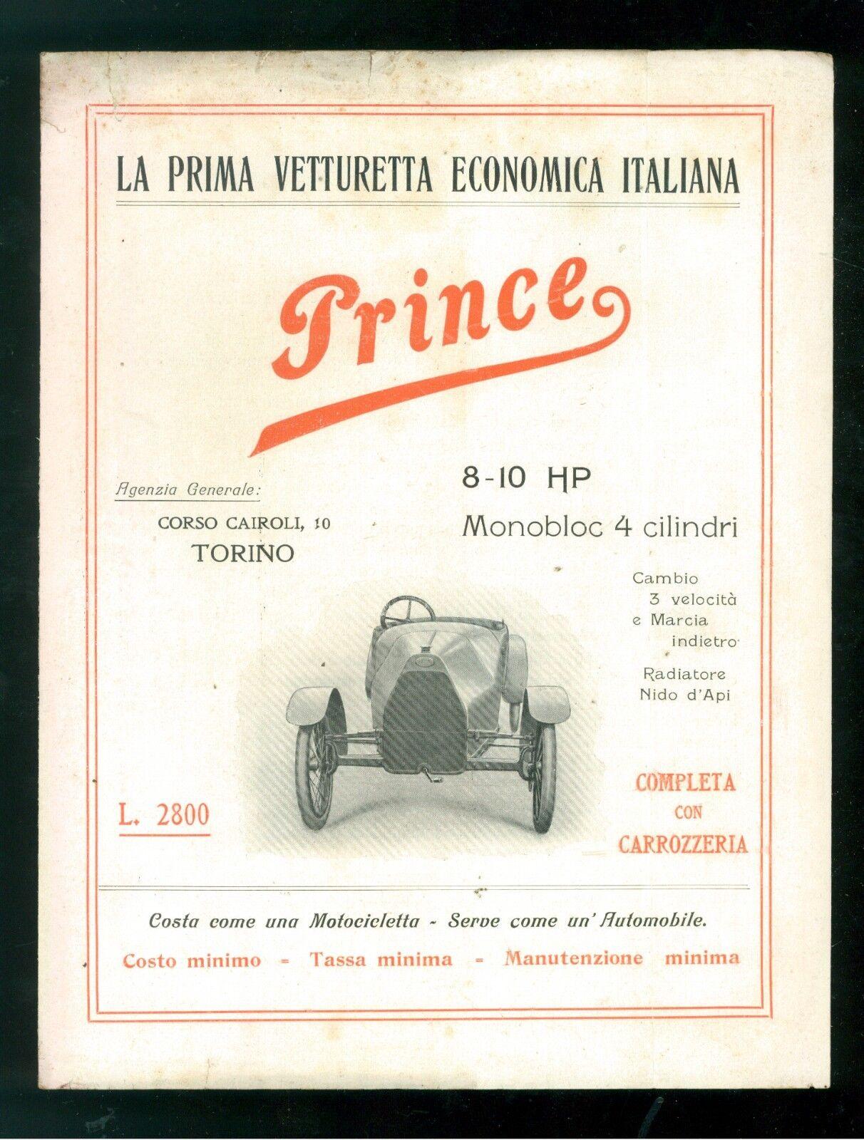 VETTURETTA PRINCE VITTORIO CARENA E MAZZA TORINO PIEGHEVOLE + FOTO MOTORE 1922