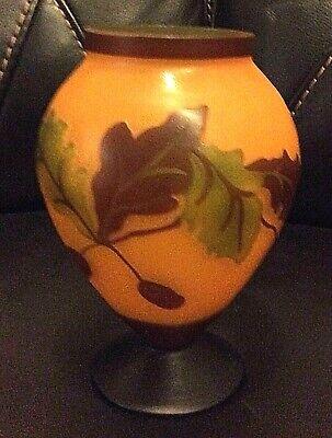 Teleflora Oak Tree Leaves And Acorns Glass Vase Harvest Autumn Fall Seasonal  for sale  Kingwood