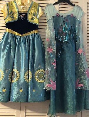 Disney Store Frozen Fever 2 in 1 Elsa and Anna Princess Costume Girls Dress 9/10 (Elsa And Anna Costume)