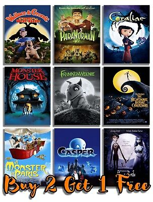 Kids Halloween Movie Posters Print Wall Art A4 A3 Films 90's Cinema Animation](90s Kids Halloween Movies)