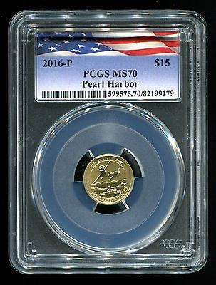 2016 P Pearl Harbor $15 1/10 Oz. .9999 75th Anniversary PCGS MS70 Gold w/ COA