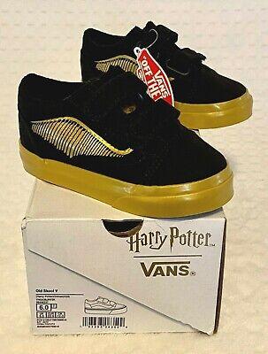 Vans Harry Potter Old Skool V Toddler Hook & Loop Shoes Size 6T Golden Snitch/Bl