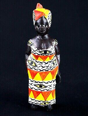 Art African - Ravishing Statue Wood Woman Colon Aoulaba Painted - 19 CMS