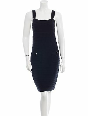 NWT CHANEL Black Knit Dress Cotton Cashmere Blend Size 40 US 4/6
