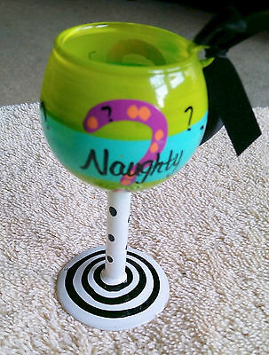 Hand Painted Glass Mini Wine Glass W/ Saying in Desc. approx 3 1/2 inch B99 ](Mini Wine)