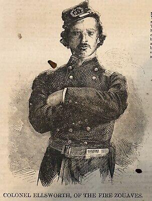 BEST 1861 CIVIL WAR newspaper FRONT PAGE bio Sketch ELLSWORTH 1st Officer