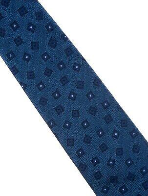 (Men Blue Nina Ricci Printed Silk Tie with Tonal Stitching)