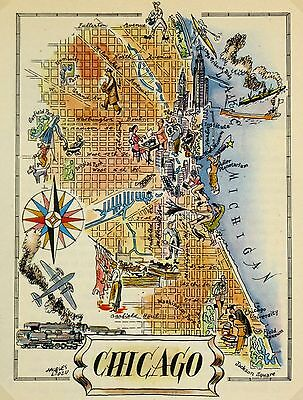 Chicago Antique Vintage Pictorial Map