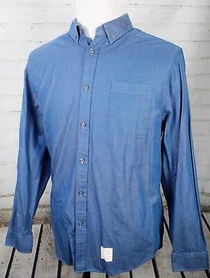 Button-down-jeans (Five Four Poggy The Man Fleming Denim Button Down Jeans Shirt Blue Men's XL)