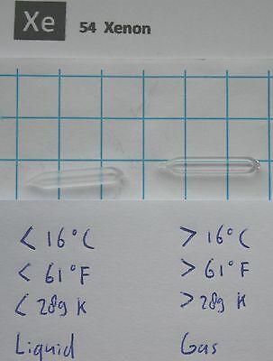 liquid Xenon in quartz ampoule 26 x 4 mm element 54 sample