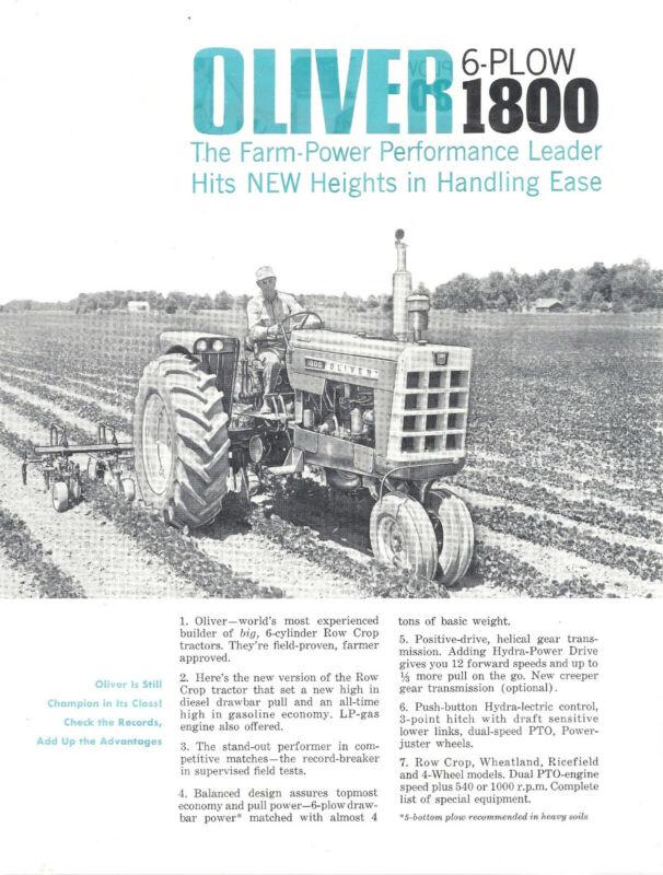 1963 Oliver 1800 Tractor Brochure