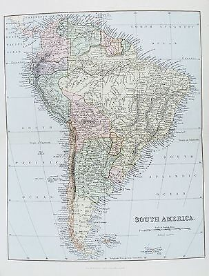 OLD ANTIQUE MAP SOUTH AMERICA c1880's by MACKENZIE PRINTED COLOUR