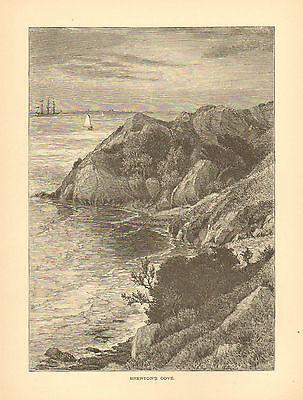 Newport, RI. Brenton's Cove, Sailboat, Seaside View, Vintage, Antique Art Print,