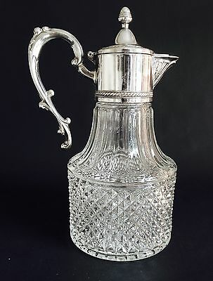 LOVELY VINTAGE SILVER-PLATED ITALIAN GLASS CLARET JUG, WINE DECANTER