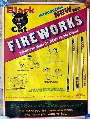 Vintage Black Cat Fireworks Advertising Poster Whistling Happy Rocket