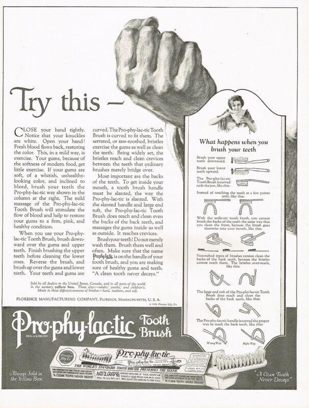 1920s BIG Original Vintage Prophylactic Tooth Brush Dental Art Print Ad d
