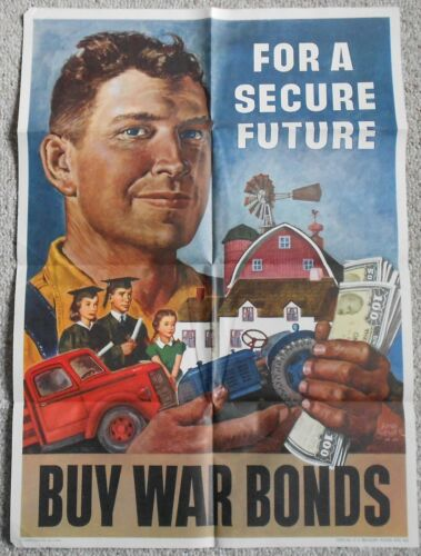 1945 Vintage WW2 WWII For A Secure Future Buy War Bonds Original Poster 20 x 28