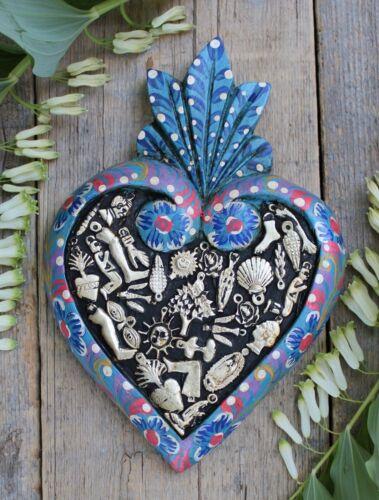 Lg Blue Floral Sacred Heart Wood & Milagros Miracle Mexican Folk Art Michoacán