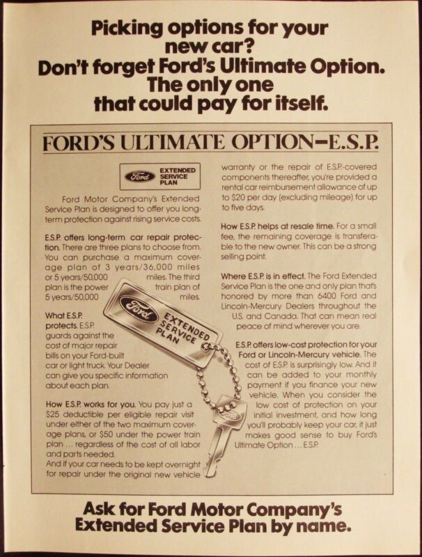 FORD MOTOR COMPANY - SERVICE PLAN - VINTAGE 1981 AD - ADVERTISING