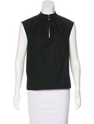 Cédric Charlier Black Ruffle Mock Neck Sleeveless Top, Size 8 (US) 40 (EU)