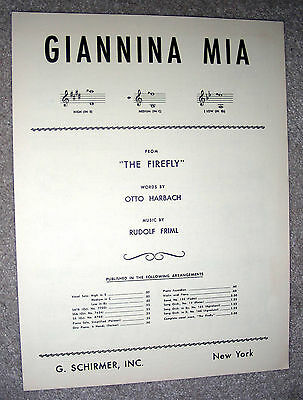 1940 GIANNINA MIA Sheet Music by Rudolf Friml, Otto Harbach from THE FIREFLY - Fireflies Ukulele