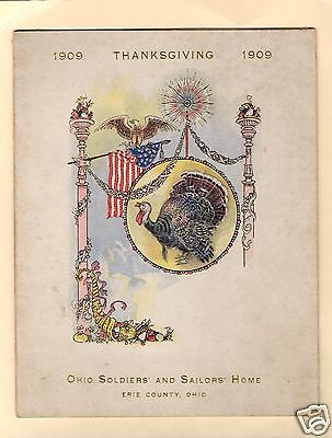 SANDUSKY OHIO 1909 SOLDIERS' & SAILORS' HOME ERIE COUNTY THANKSGIVING DAY MENU