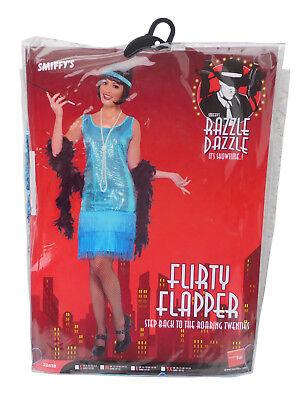 Smiffys Kostüm Flirty Flapper Damenkostüm Kleid Kette Blau 20er Jahre NEU ()
