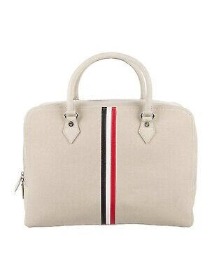 Thom Browne Black Fleece Brooks Brothers Striped Canvas Briefcase NEW (Brown Striped Fleece)
