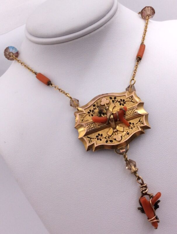 """GOLD FILLED VICTORIAN GLASS BEAD ENAMELED CORAL ORNATE NECKLACE 19.5"""""""