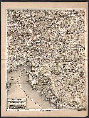 STEIERMARK Kärnten Krain Görz-Gradiska Triest Istrien historische Karte 1879 Map