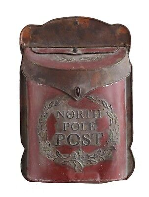 North Pole Post Santa's Red Tin Mailbox Christmas Holiday Decor Decoration - Santa Mailbox