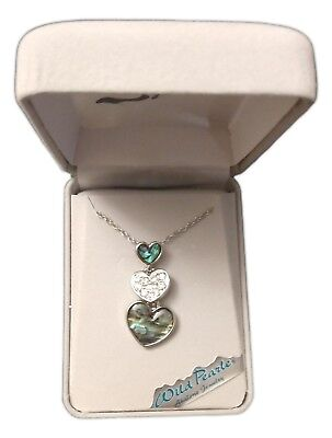 """HEART'S DEVOTION Abalone Necklace, Rhodium Plated, 18"""" Chain, by Wild Pearle for sale  Van Wert"""