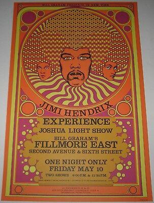 MINT Jimi Hendrix Experience 1968 Poster 3rd Print Limited Fillmore Bill Graham