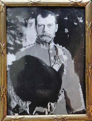 Tsar Nicholas II Romanov Imperial Russia Photo Antique Solid Gold Frame Serov