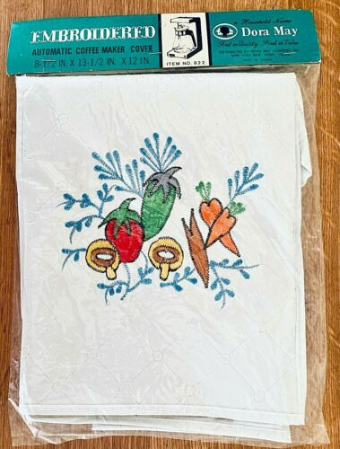 NEW Vintage Dora May Embroidered Coffee Maker Cover White Vinyl Vegetables #822