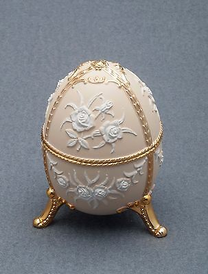 Music Box made by Splendid Music Box  - NEW - Cream Colored Egg with Flowers Cream Music Box
