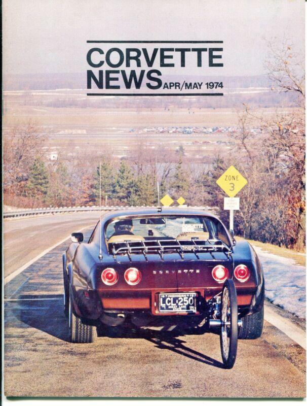 "Vintage ""CORVETTE NEWS"" Magazine - April/May 1974"