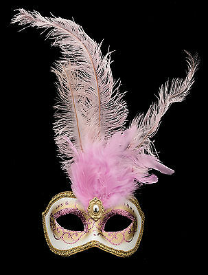 Mask from venice Colombine feathered Ostrich Rose-mask Venetian - 1347 V78