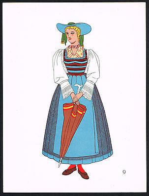 1930s Vintage Molten Tyrol Austria European Woman's Clothing Pochoir Art Print