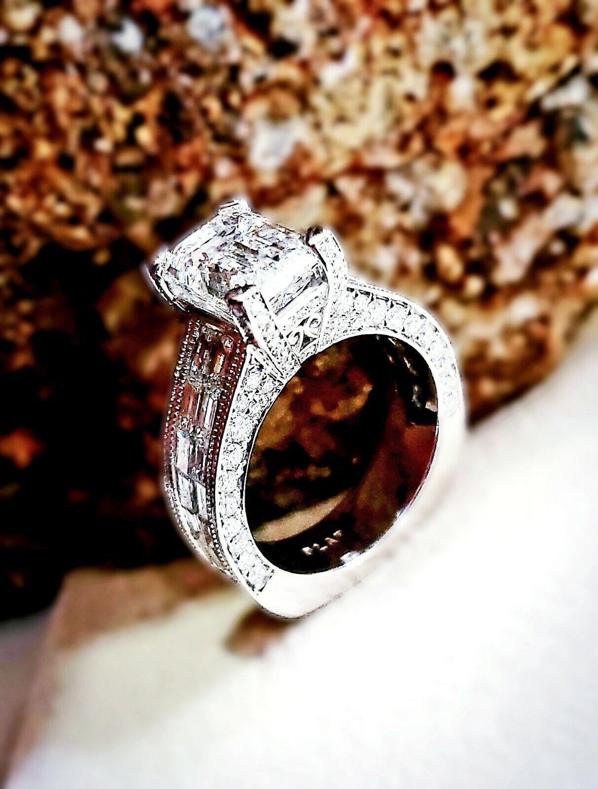 5.83 Ct Emerald Cut Diamond & Baguette Engagement Ring Round Cut Pave J,VS1 GIA  1
