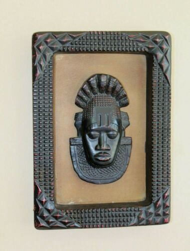 """Framed 11"""" X 7.25"""" X 1"""" African Style 3D Picture Carved Faux Mask Wall Decor"""