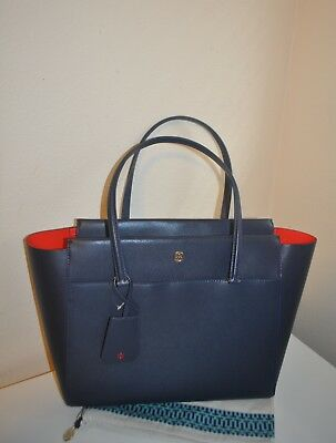 $298+ Tory Burch Large Parker Leather Shoulder Tote Bag Tory Navy Samba Leather